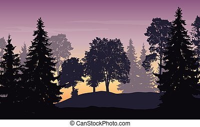 Vector illustration of mountain landscape with forest and trees under purple sky at sunrise
