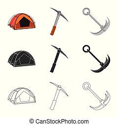 Vector illustration of mountaineering and peak icon. ...