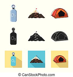 Vector illustration of mountaineering and peak icon. Set of ...