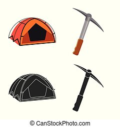 Vector illustration of mountaineering and peak symbol. Set ...