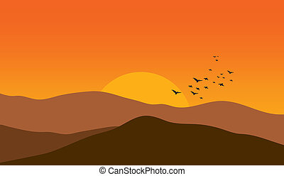 sun sunset sunrise mountain bird birds illustrations and stock art rh canstockphoto com Simple Mountain Clip Art Mountain Hiking Clip Art