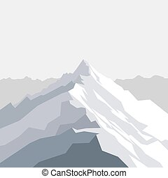 Vector illustration of mountains landscape with peak. Mountaineering and traveling, sport, vacation and outdoor recreation concept. Abstract geometric background for web, presentations or prints.