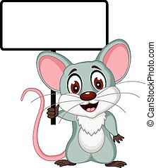 mouse cartoon with sign