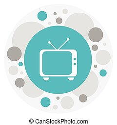 Vector Illustration Of Movie Symbol On Retro Tv Icon. Premium Quality Isolated Telly Element In Trendy Flat Style.