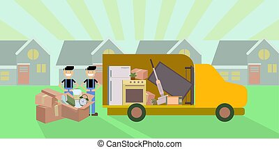 Vector illustration of moving company truck and workers with cardboards on the street.