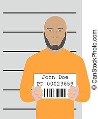 mugshot - vector illustration of mugshot of arrested man