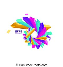 Vector illustration of multicolored geometric rectangles in rounded 3d shape