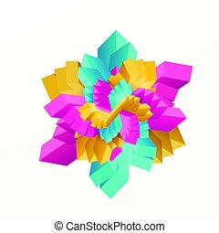 Vector illustration of multicolored geometric rectangles in star shape
