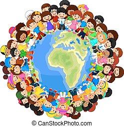 Multicultural children cartoon on p - Vector illustration of...