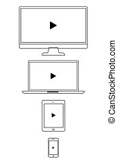 Vector illustration of multimedia devices icons set with a play button.