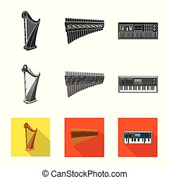 Vector illustration of music and tune logo. Collection of music and tool stock symbol for web.
