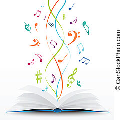 music notes on open book background - Vector Illustration of...
