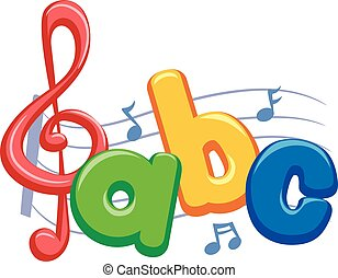 Music Notes with ABC - Vector Illustration of Music Notes...
