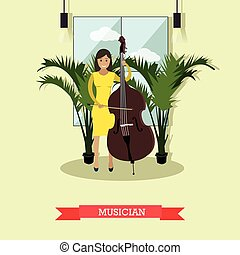 Vector illustration of musician playing contrabass in flat style