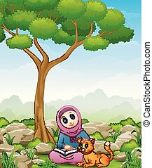 Muslim girl cartoon holding a book and cat in the jungle
