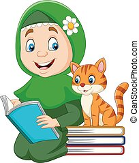 Muslim girl reading a book with cat