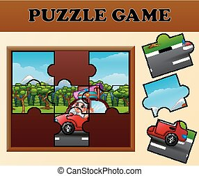 Muslim male traveling with puzzle concept