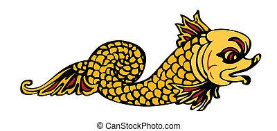 vector illustration of mythological fish