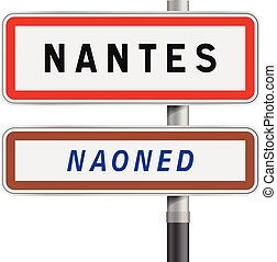 Nantes road signs entrance
