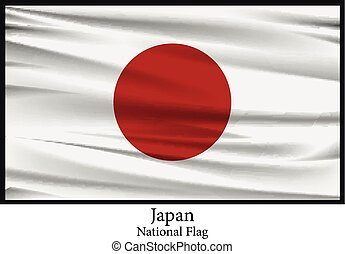 National flag of Japan flag isolated on black
