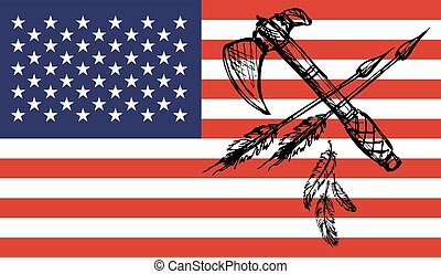 American Indian tomahawks on usa flag background - Vector...