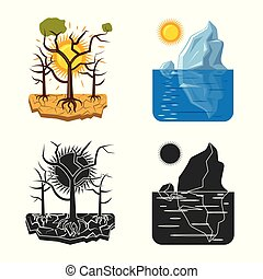Vector illustration of natural and disaster logo. Set of...