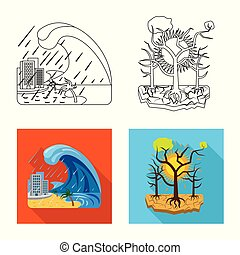 Vector illustration of natural and disaster sign. Collection...