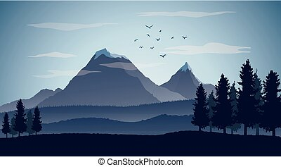 Nature landscape background with silhouettes of mountains and trees