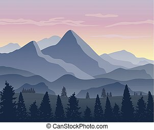 Nature landscape background with silhouettes of mountains