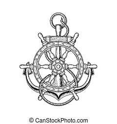 Vector illustration of nautical steering wheel and anchor -...