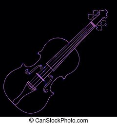 Vector illustration of neon violin
