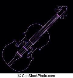 Vector illustration of neon violin