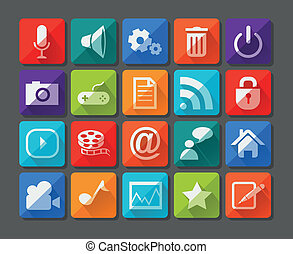 New app icons set in flat