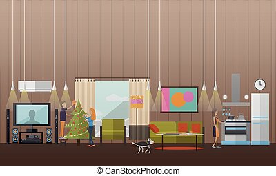 Vector illustration of New Years Eve preparation concept design elements
