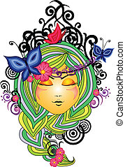 Vector illustration of nice women in nature ornament