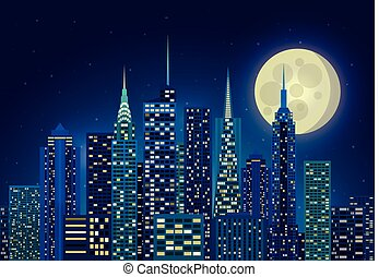 illustration of night city