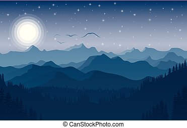 Night mountain landscape with forest and lake