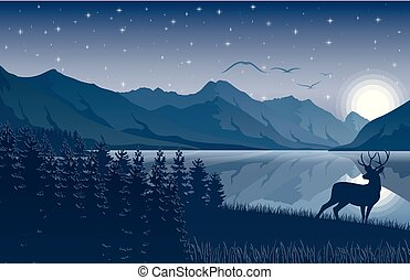 Night Mountains landscape with deer near a lake and stars on the sky