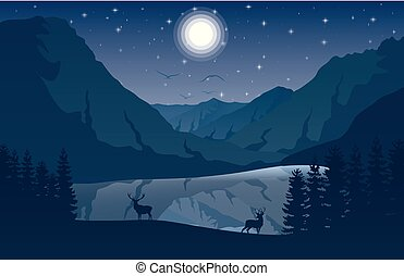 Night Mountains landscape with two deer near a lake and stars on the sky