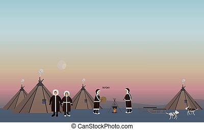 Vector illustration of northern people and their houses, flat style