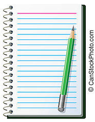 note pad with pencil - vector illustration of note pad with...