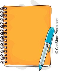 Notebook and Pen Cartoon Style