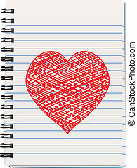 notepad with hand drawn heart