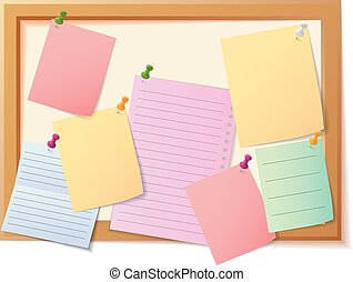 Vector Illustration Of Notice board filled with various stationary items