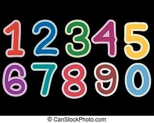 Number Set on black background