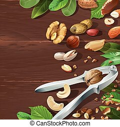 Vector illustration of nutcracker and nuts