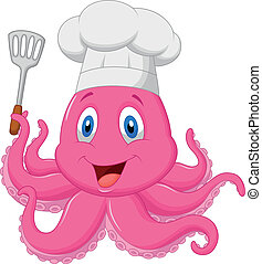 Octopus chef cartoon holding spatul - Vector illustration of...