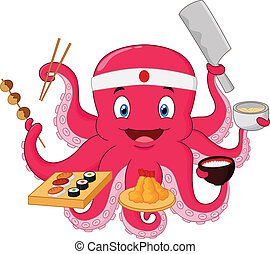 Octopus chef - vector illustration of Octopus chef