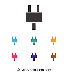 Vector Illustration Of Office Symbol On Plug Icon. Premium Quality Isolated Socket Element In Trendy Flat Style.