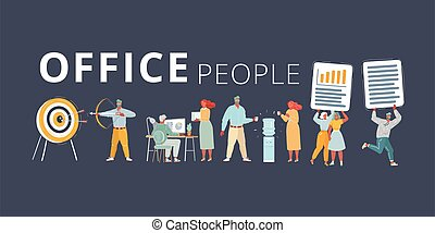 Vector illustration of Office team set on dark background. People on dark background. Office team working at workspaces. Work with files, cooler, aim and bow arrow